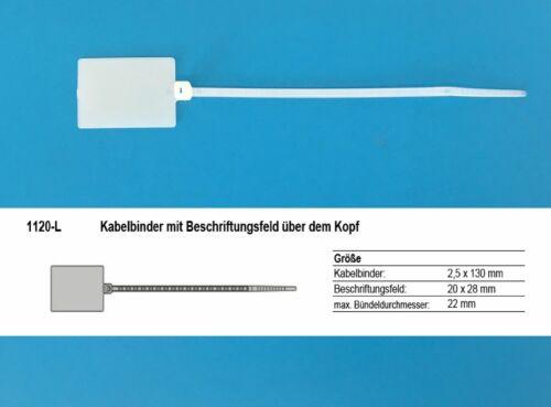 100 x Kabelmarkierer Kabelbinder 2,5x130mm Beschriftungsfeld über d Kopf