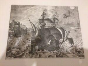 Gravure-LITHOGRAPHIE-XXe-Marine-bateau-FH-Bruegel-papier-ARCHES-n-15