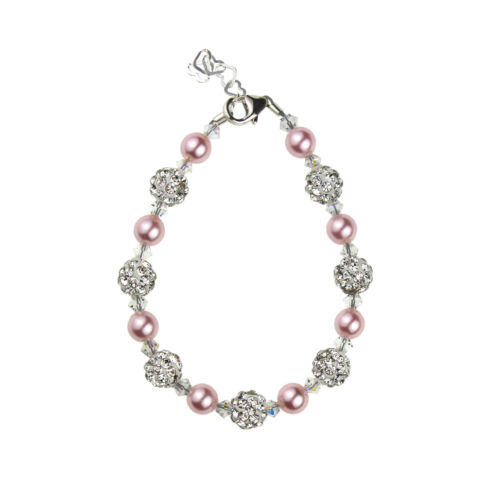 Baby Bracelet w/ Swarovski Pink Pearls and Clear Crystals w/ White Pavé Beads