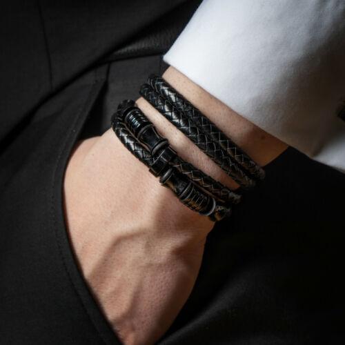 SERASAR Leder Armband Herrenarmband für Männer in schwarz mit Schmuckschachtel