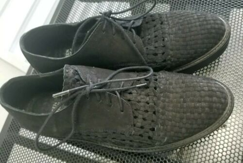 Eileen Fisher Black Nubuck Lace up Casual Shoes Pl