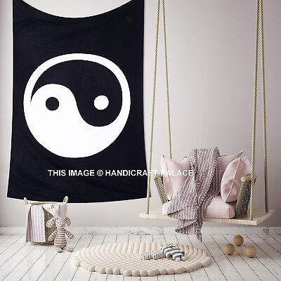 Tapestry Wall Hanging Yin Yang Black And White Mandala Indian Traditional Cotton