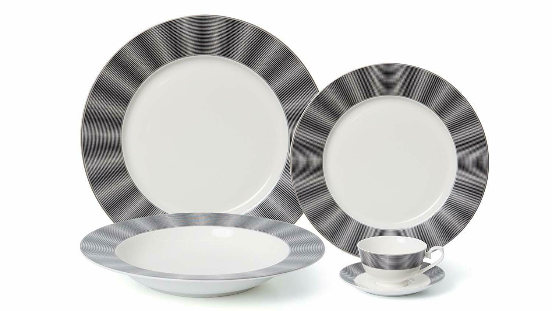Royalty Porcelain 5-pc  Edina  Dinner Set for 1, 24K gold-Plated