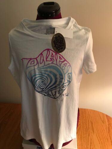 NEW NWT Licensed JRS WOMENS LOLLAPALOOZA WHITE COTTON T-Shirt /'92 LOGO SWIRL