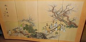 Image Is Loading Huge Old Chinese People Blossoms Watercolor Silk 4