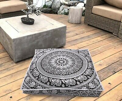 Indian Mandala Square Floor Pillow Outdoor Ottoman Pouf Cover Meditation Throw