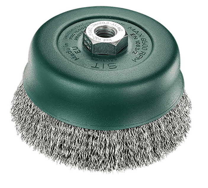 Sit CRIMPED WIRE CUP BRUSH 100mm Stainless Steel, M14x2.0mm Mount, Multi-Purpose