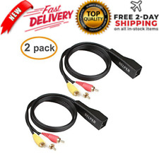 RELPER 2 Pack 3 RCA to RJ45 Balun Component Video and Audio Extender Over Cat5//6 Up to 600ft//200M