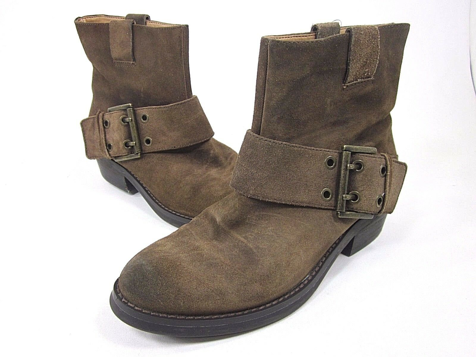 NINE WEST, BROWN, KASSY SUEDE BOOT, WOMENS, BROWN, WEST, US 7.5M, LEATHER, PRE/ OWNED 112ff5