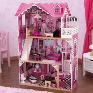 New Kids Girls Wooden Pink 3 Levels Doll House for 12'' dolls