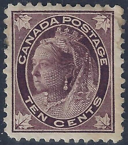 CANADA 1897 QUEEN VICTORIA 10 CENTS Sc 73 NEAT CENTERING FRESH COLOR SMALL PERF