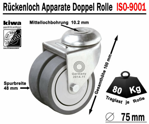 Rückenloch double rôles transport conduite rôles 8 x ø 75 Mm Le-le iso-9001 GERMANY