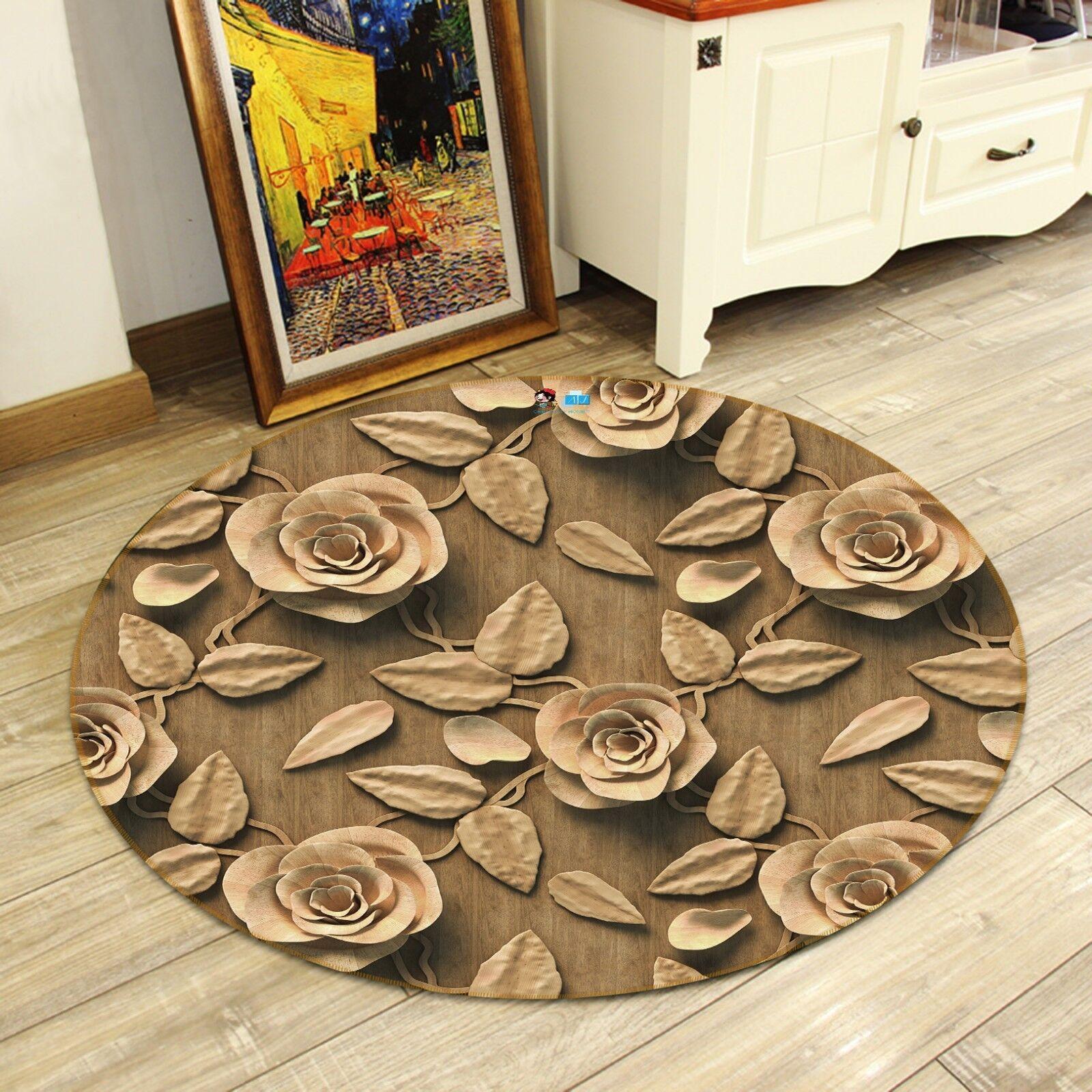 3D Retrò Fiore 8 antiscivolo tappeto camera Tappetino Tondo Qualità Elegante foto Tappeto UK
