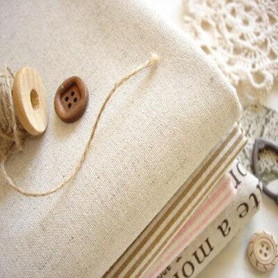 Japanese Zakka Plain Linen Cotton Fabric Light Oatmeal Shabby CHic Cottage FQ