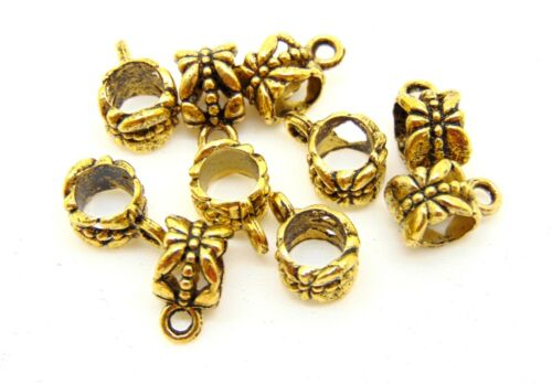 10 Pcs Antique Golden Tibetan Silver Butterfly Bails Jewellery Findings H96