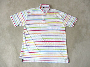 Orvis-Polo-Shirt-Adult-Medium-White-Purple-Striped-Fly-Fisherman-Fishing-Rugby