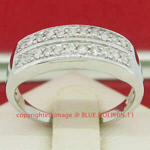 Genuine-Real-Diamond-Solid-Silver-Engagement-Wedding-Ring-Band-White-Gold-Finish