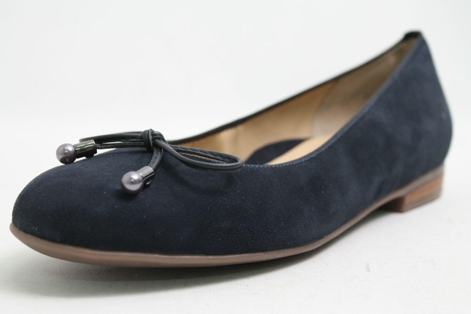 Ara Ballerinas blue echt Nubuk Leder Schleifchen Luftpolster Schuhweite G