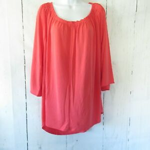 New-Kelly-Clinton-Kelly-Top-2X-Orange-Top-Flutter-Sleeves-Bright-Coral-Plus-Size