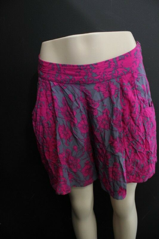 Womens Free People Fuchsia Floral Print Skirt Shorts Size 12