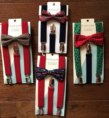 NWT Boy/'s Class Club Clip-on Bow Tie /& Suspenders Set Red Plaid Green Christmas