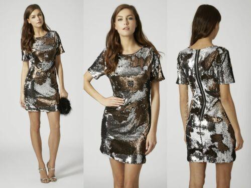 TOPSHOP TWO TONE SEQUIN BODYCON PARTY DRESS SIZE UK8 EUR36 US4 RRP £68