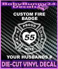 Custom Wife Fire Fighter Dept Decal Vinyl Sticker