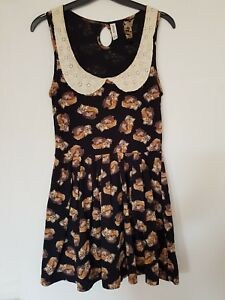 Black-Fox-Animal-Print-Skater-Dress-Collar-Fit-amp-Flare-Size-8