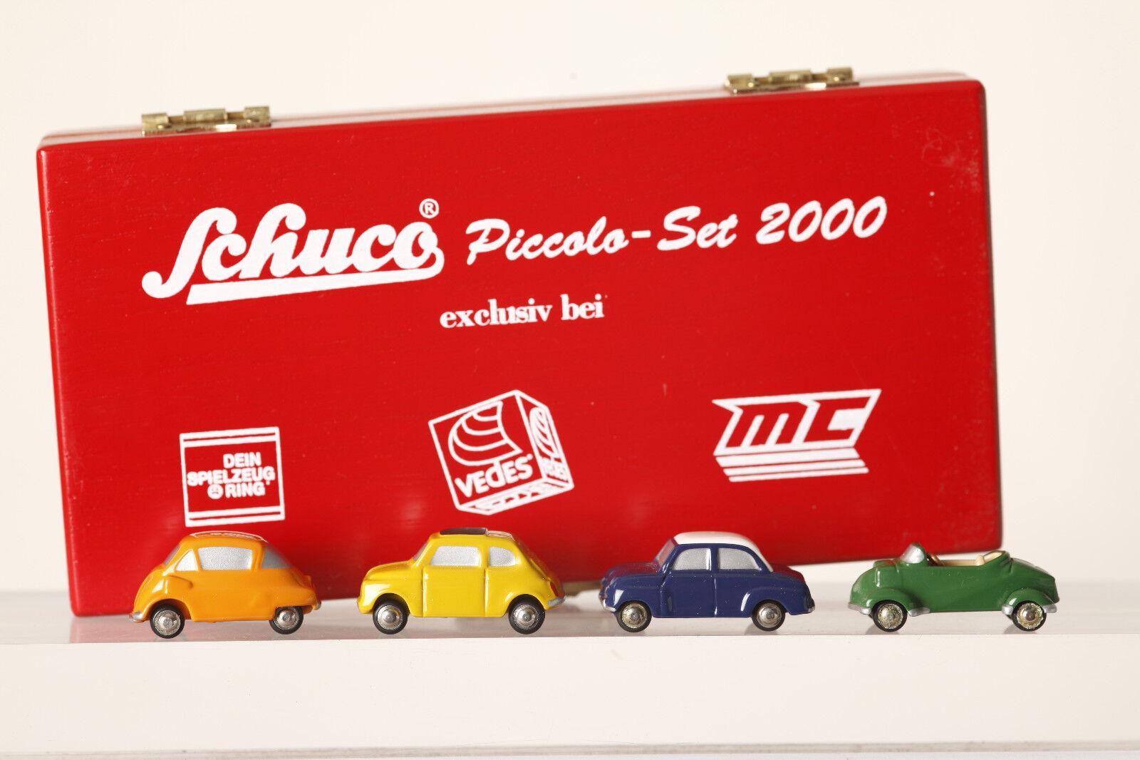 Schuco Piccolo 4er-Set 2000 Vedes Isetta  Fiat 500  Gogo Messerschmitt  (65014)