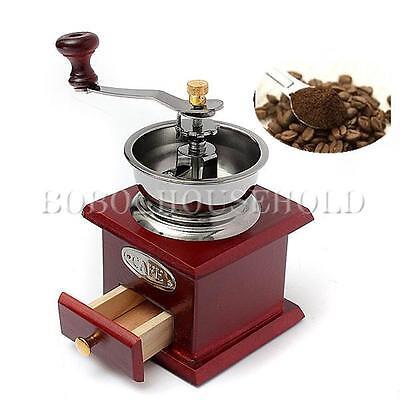 Vintage Wood Metal Essential Manual Hand Coffee Bean Grinder Coffee mill Drawer