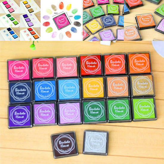 20 Colors Ink Pad Set For Rubber STAMPS Card Making Paper Craft Fabric Finger Sale Online