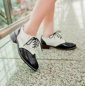 Classic-Womens-Brogue-Lace-Up-Wingtip-Low-Block-Heel-Ladies-Girls-Oxford-Shoes