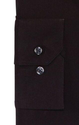 Neuf avec étiquettes $89 ALFANI Hommes Ajustée Noir à Manches Longues Coton Bouton Chemise Habillée 16 32//33 L