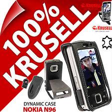 NUOVO KRUSELL CUSTODIA DYNAMIC nera in vera pelle copertura e clip da cintura per Nokia n96