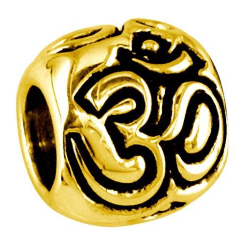 Aum Charm Bracelet Bead in 14K Yellow gold Embossed Yoga Ohm Om
