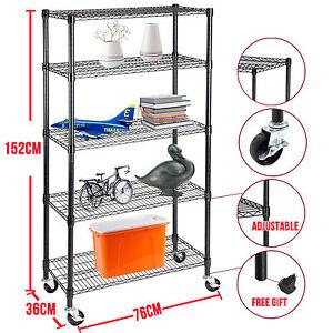"""5 Tier Heavy Duty Wire Shelving Rack Adjustable Steel Shelf 60""""x30""""x14"""""""