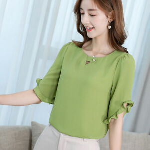 Women-Summer-Ladies-Short-Sleeve-Shirt-Chiffon-T-Shirt-Top-Fashion-Loose-Blouse