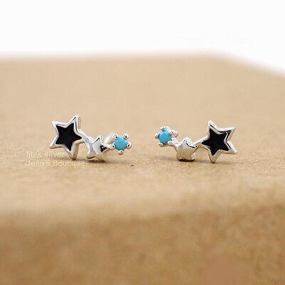 925 Sterling Silver Tiny Star Zirconia CZ Stud Earrings A1221