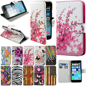 Magnetic Pattern PU Leather Flip Wallet Case Cover For iPhone 4S 5S 6 Samsung S5