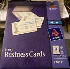 Avery Ivory Business Cards New 2 X 35 Inches 27883 100 Inkjet Cards
