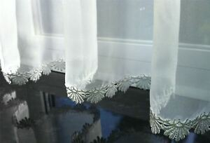 macrame-TIGE-HAUT-FENTE-BLANCHE-CABLE-rideaux-drape-panneau-de-cafe-150cmX45-7cm