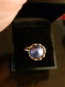 Authentic-Pandora-14ct-Gold-Blue-Pearl-Ring-size-58
