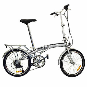Folding Bike 20 Shimano 6 Speed Bike Fold Storage Silver College School Sports