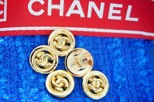 100-Authentic-Chanel-Button-logo-cc-gold-lot-of-5
