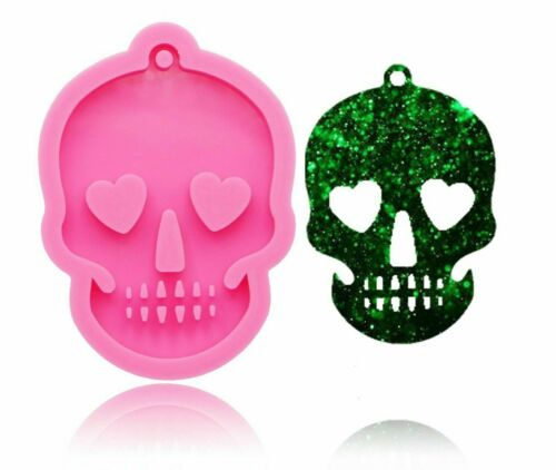 Skull Head Silicone Mould for Keychains Pendant Clay DIY Jewelry Making Mold