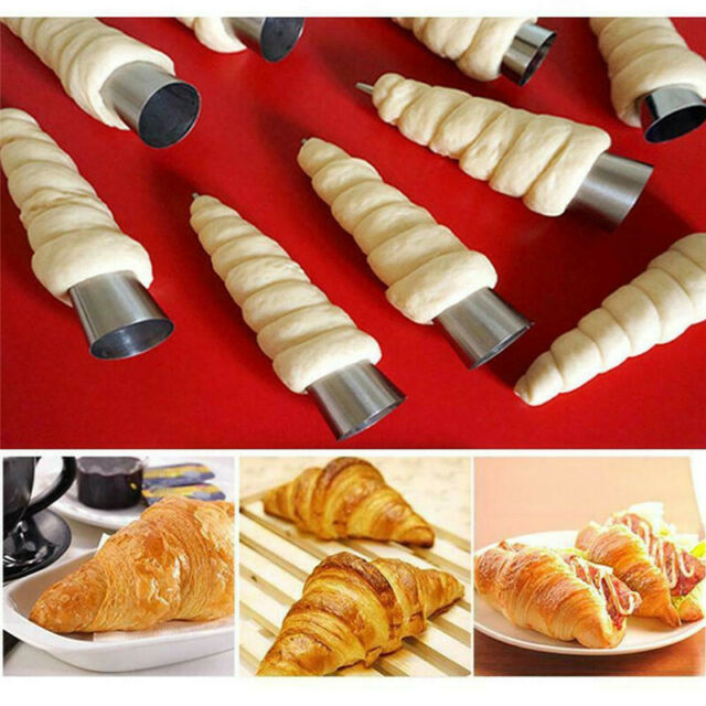 12pcs Stainless Steel Pastry Cream Horn Cone Shape Mould Bread Cake Baking