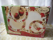Gibson POINSETTIA HOLIDAY 20 Piece Christmas Dinnerware Set NIB & Gibson Poinsettia Holiday Dinnerware Set 20-piece | eBay
