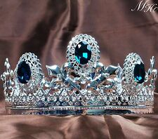 "Noble 3.5"" Round Crowns Blue Crystal Tiara Diadem Pageant Party Costumes For Men"