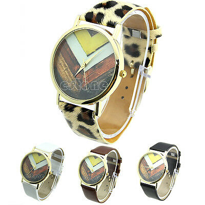 Trendy Faux Leather Wave Dial Geneva Watch For Women Dress Watch Quartz Watches
