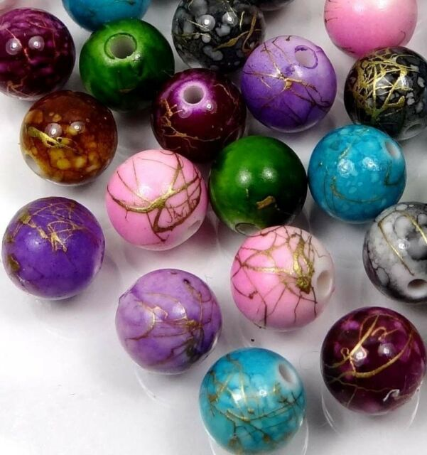 50 Mixed Color Acrylic Drawbench Round Beads II 10mm